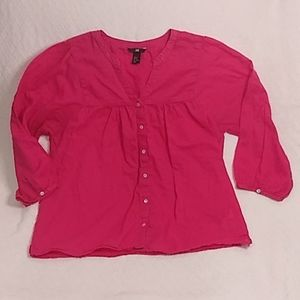 H&M Button Up Flowy Pink Blouse Size 14
